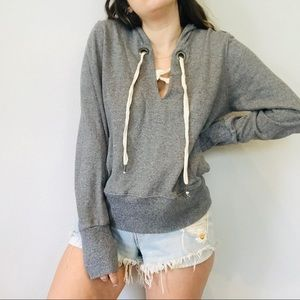 Splendid gray lace up striped hoodie
